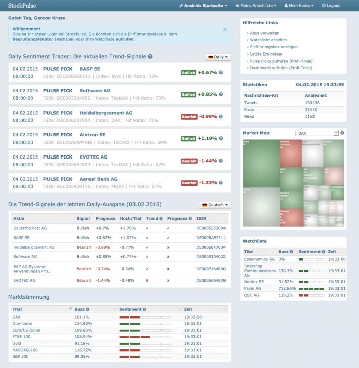 Startseite von StockPulse