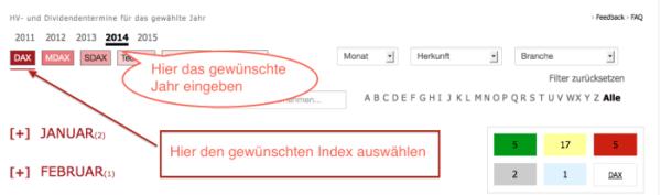 Index und Jahr